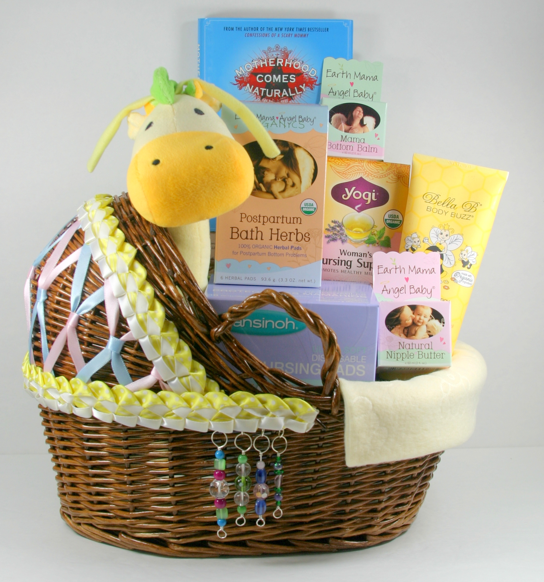 After pregnancy new mom care package with hand decorated bassinet after pregnancy new mom care package with hand decorated bassinet bask wild moon designs negle Image collections